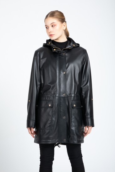 Amy Women Black Hooded Leather Trenchcoat
