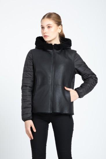 Audrina Women Black Shearling Hybrid Jacket