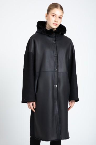 Benita Women Black Shearling Fabric Reversible Coat