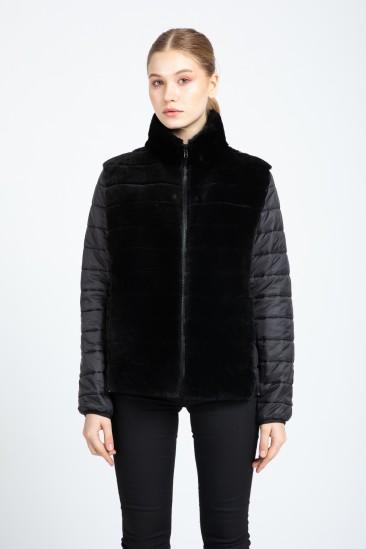 Aurelıa Women Black Shearling Hybrid Jacket