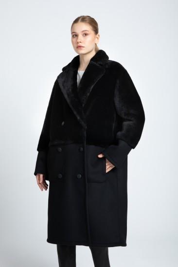 Belında Women Black Shearling Fabric Reversible Coat