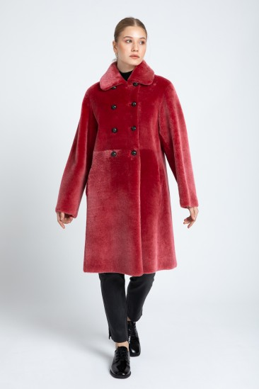 Alina Women Red With Snow Effect Reversible Shearling Coat
