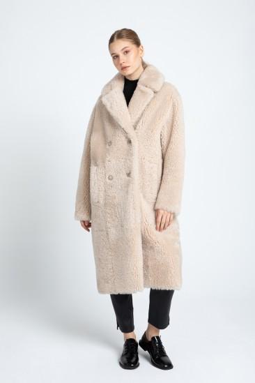 Bonnie Women Ecru Shearling Coat