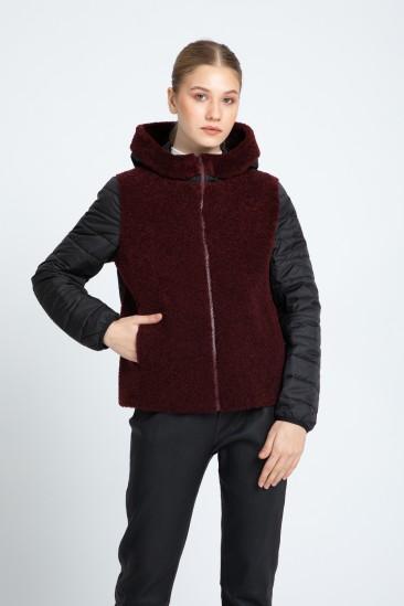 Audrina Women Bordeaux / Black Shearling Hybrid Jacket