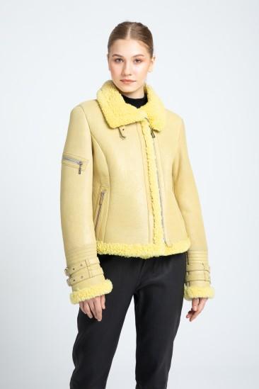 Alfreda Women Yellow Shearling Coat