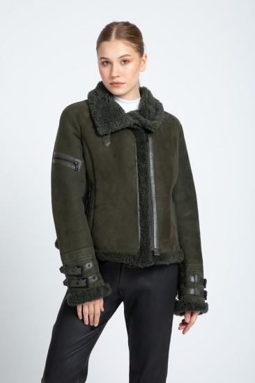 Alfreda Women Green Shearling Coat