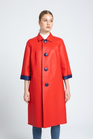 Alice Women Red / Saxe Leather Trenchcoat