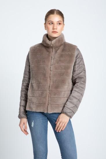 Aurelıa Women Mink Color Shearling Hybrid Jacket