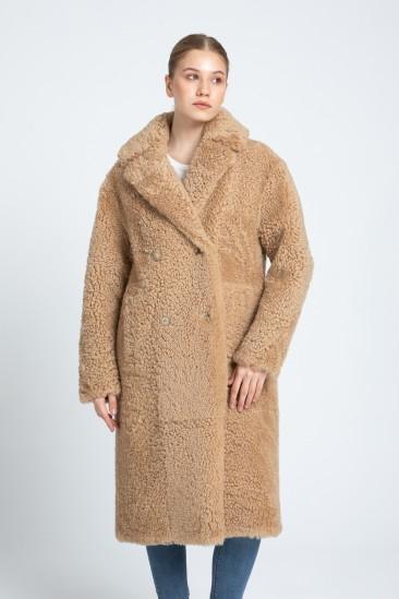 Bonnie Women Camel Shearling Coat