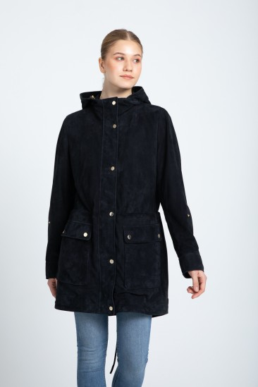 Amy Women Navy Hooded Suede Leather Trenchcoat