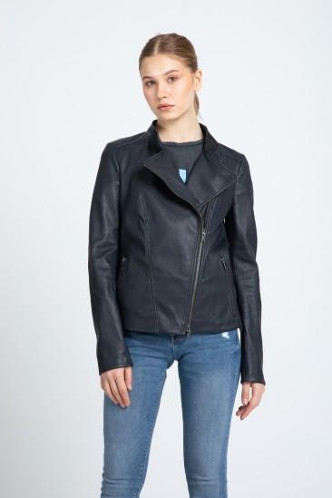 Berry Women Navy Stretch Leather Jacket