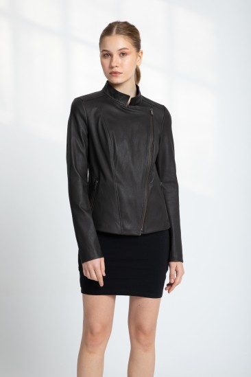 Berry Women Brown Stretch Leather Jacket