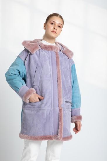 Alyssa Women Blue / Pink Hooded Shearling Coat