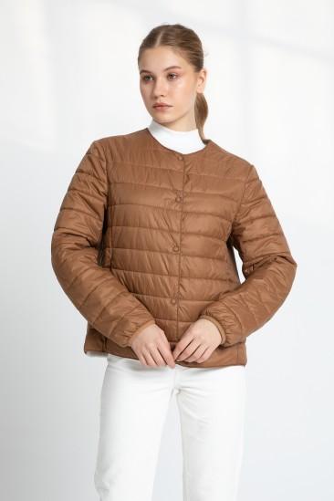 Audra Women Camel Shearling Hybrid Jacket