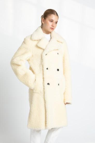 Brandy Women Off White Shearling Coat