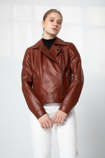 Bernıce Women Reddish Brown Leather Jacket