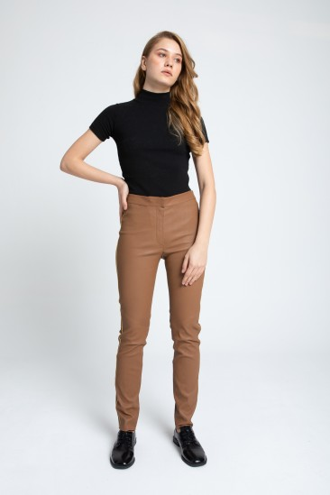 Aria Women Camel Stretch Leather Pant