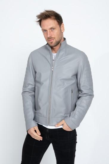 Alcott Men Sports Dark Grey Leather Jacket
