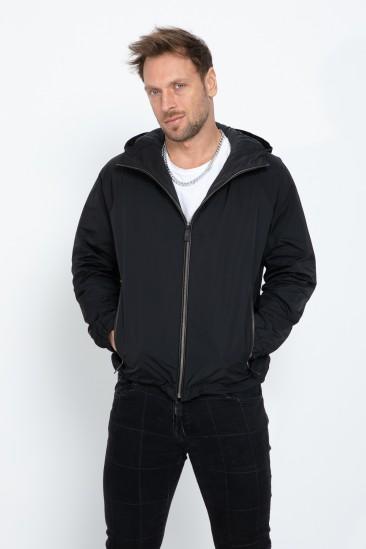 Amos Men Black Sports Hooded Fabric Jacket