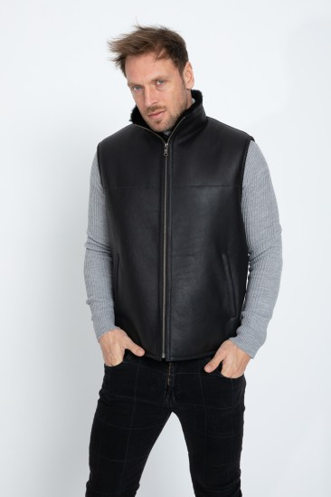 Agustin Men Black Shearling Vest