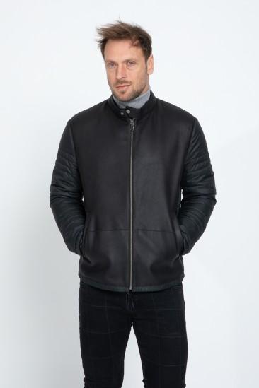 Aldwin Men Casual Black Shearling Hybrid Jacket