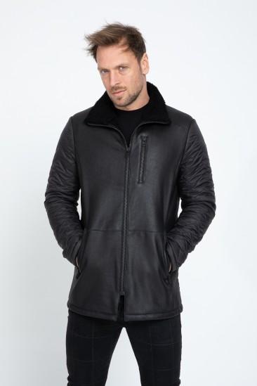 Aaron Men Casual Black Shearling Hybrid Coat