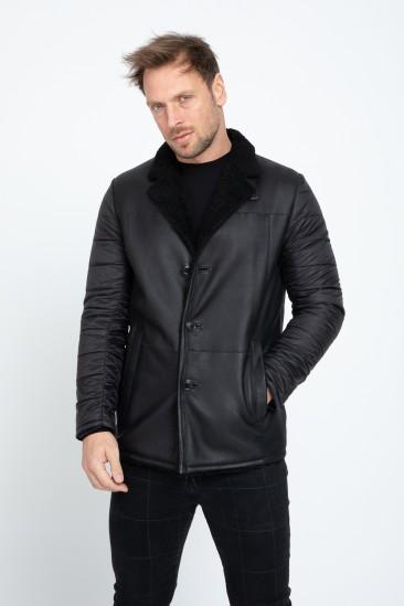 Addison Men Casual Black Shearling Hybrid Coat