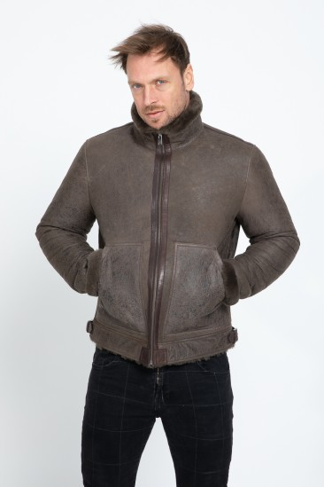 Alexis Men Khaki Shearling Coat