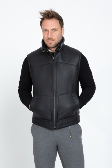 Aegeus Men Black With Snow Effect Shearling Vest
