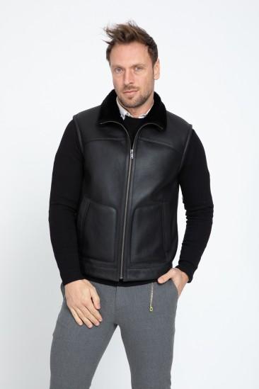Aegeus Men Black Shearling Vest