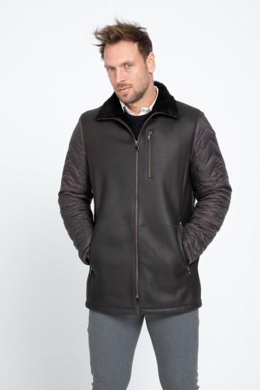Aaron Men Casual Brown Shearling Hybrid Coat