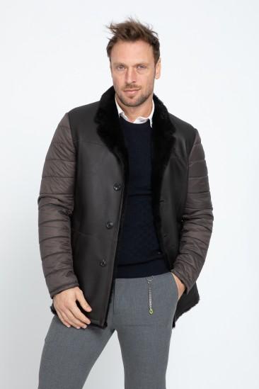 Addison Men Casual Brown Shearling Hybrid Coat