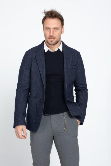 Alvin Men Navy Melange Classic Blazer Fabric Jacket