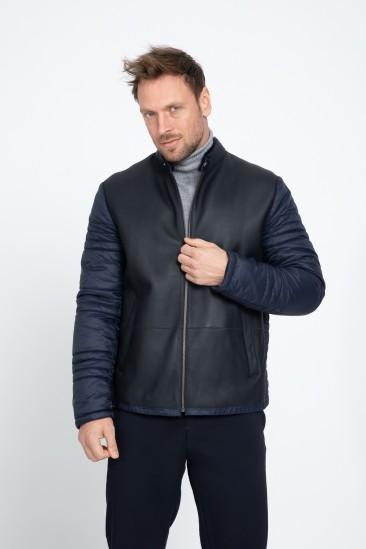 Aldwin Men Casual Navy Shearling Hybrid Jacket