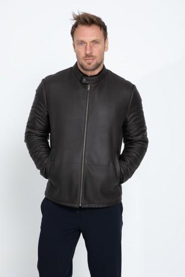 Aldwin Men Casual Brown Shearling Hybrid Jacket