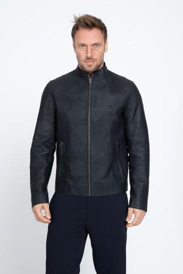 Adler Men Sports Navy Leather Jacket