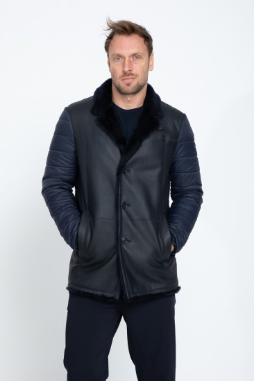 Addison Men Casual Navy Shearling Hybrid Jacket