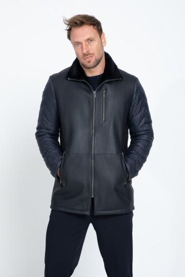 Aaron Men Casual Navy Shearling Hybrid Coat