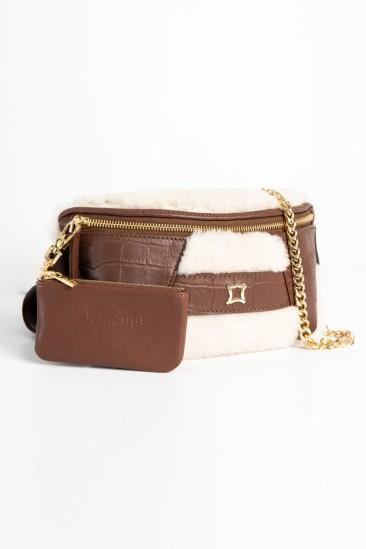 Candy Women Ecru-Camel Color Printed Leather Belt Bag