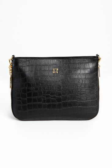 Carolina Women Black Color Printed Leather Cross Body Bag
