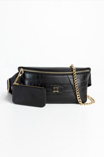 Cara Women Black Color Printed Leather Belt Bag