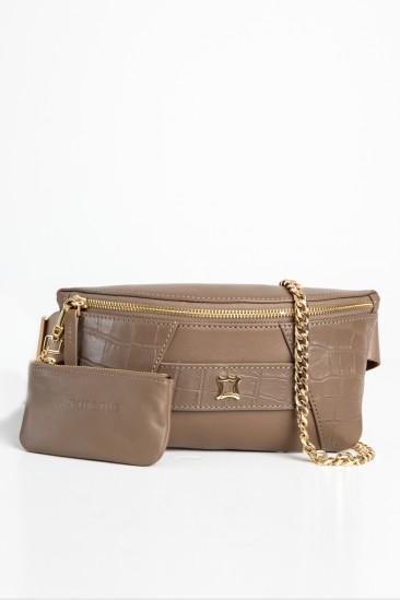Cara Women Mink Color Printed Leather Belt Bag
