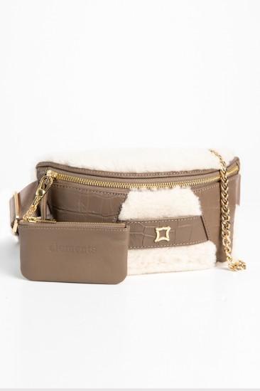 Candy Women Ecru-Mink Color Printed Leather Belt Bag