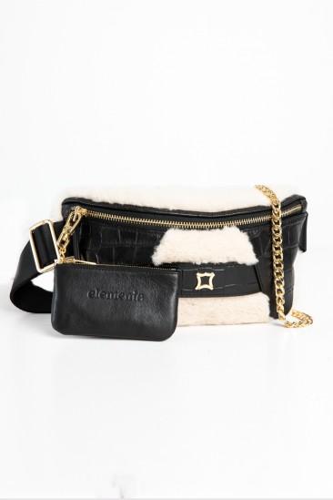 Candy Women Ecru-Black Color Printed Leather Belt Bag