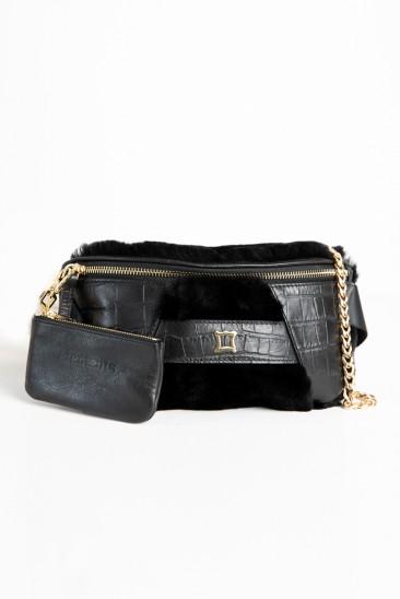 Candy Women Black Color Printed Leather Belt Bag