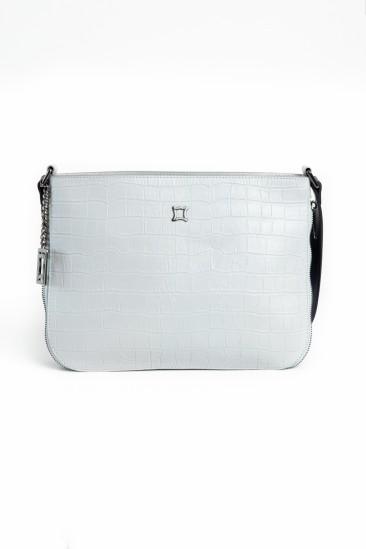Camellia Women Light Grey Printed Leather Cross Body Bag