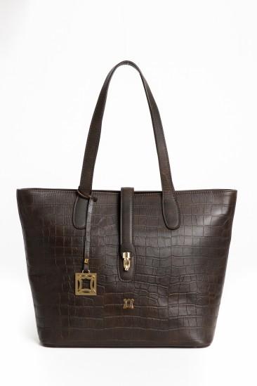 Celina Women Dark Brown Printed Leather Shoulder Bag