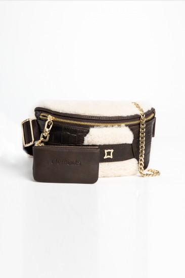Candy Women Ecru-Dark Brown Color Printed Leather Belt Bag