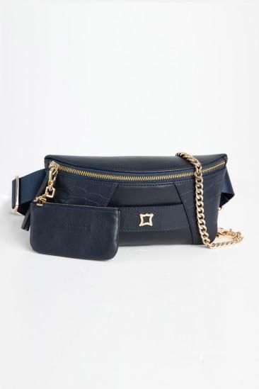 Cara Women Navy Color Printed Leather Belt Bag